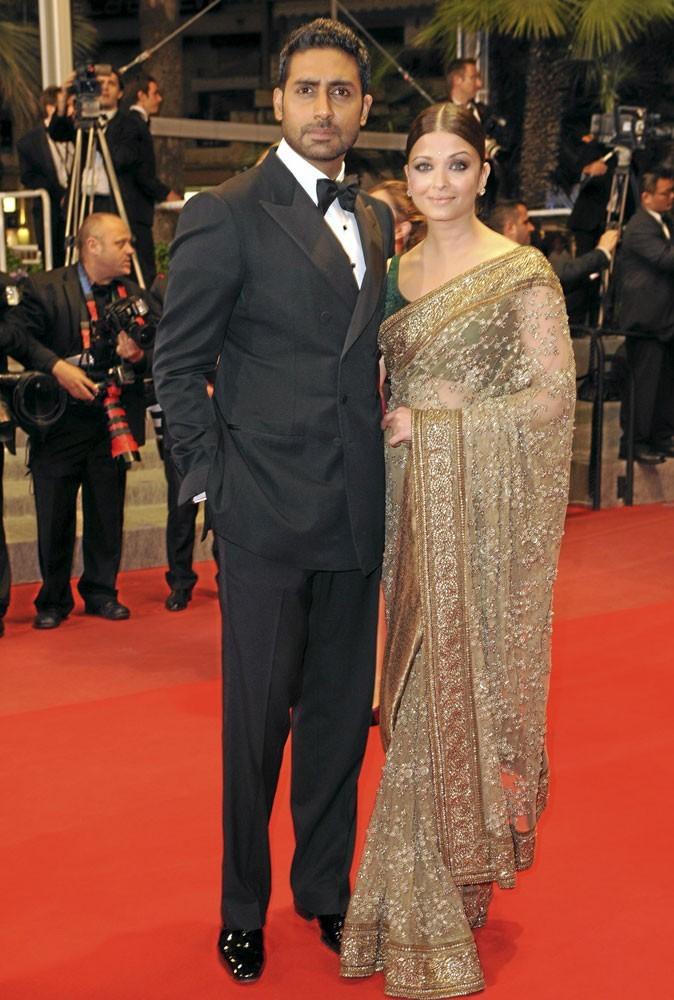 Cannes 2010 : le couple de stars Aishwarya Ray et son mari, la Bollywood attitude !