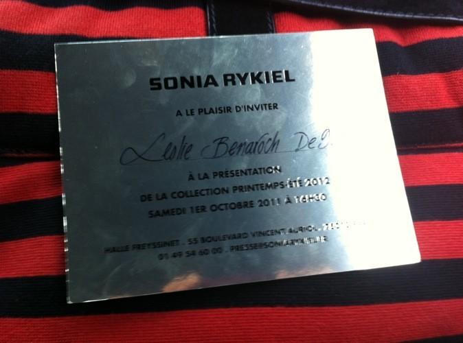 Carton d'invitation au défilé Sonia Rykiel printemps été 2012