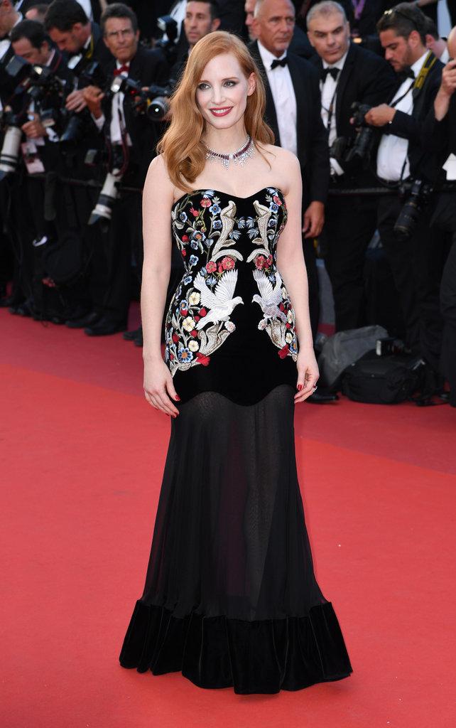 Jessica Chastain en robe Alexander McQueen - Cannes, le 17 mai 2017