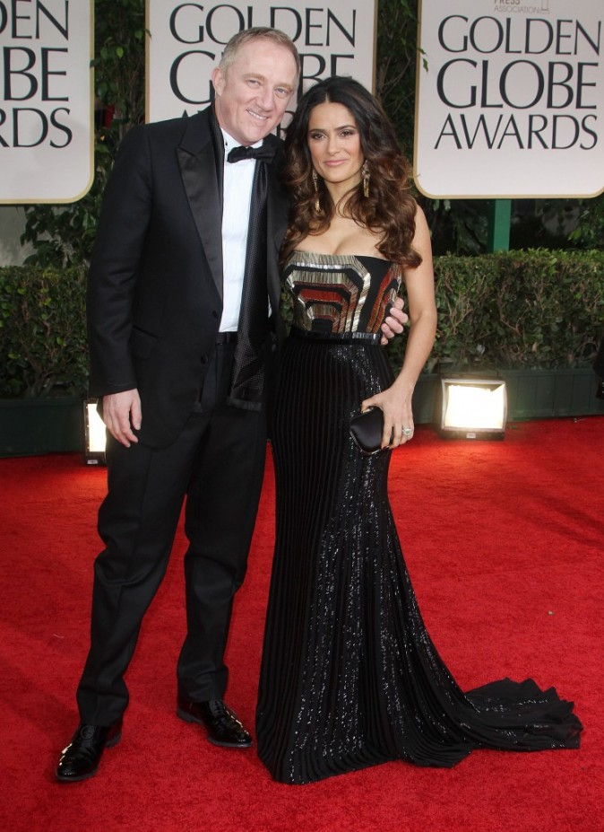 Salma Hayek et son mari François-Henri Pinault lors de la cérémonie des Golden Globes 2012 à Beverly Hills, le 15 janvier 2012.
