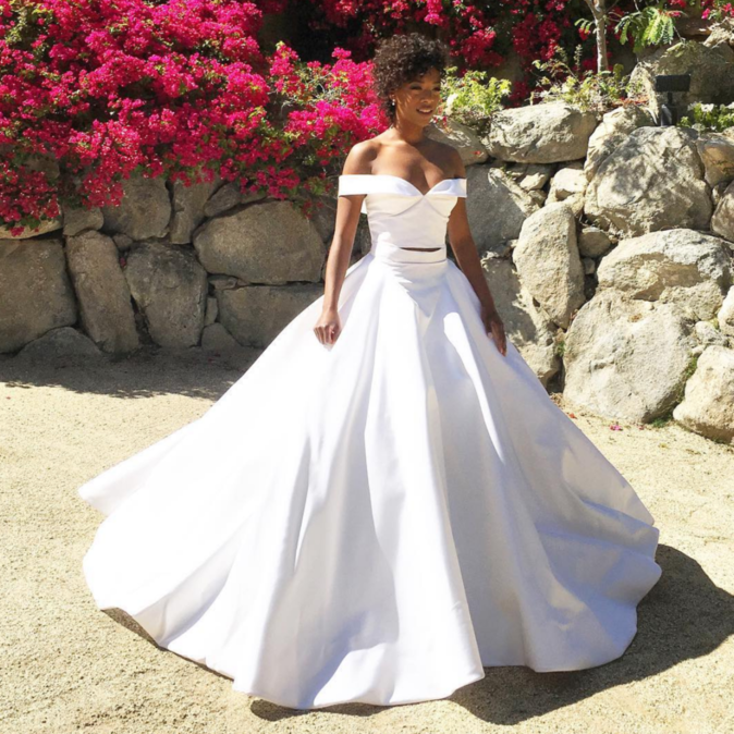 L'actrice Samira Wiley (Orange Is The New Black) avait opté pour une robe Christian Siriano pour son mariage