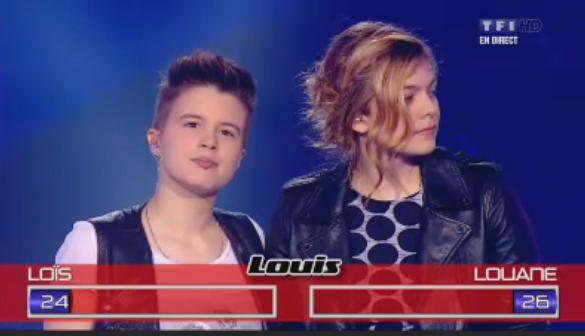 Le vote de Louis Bertignac ; deux petits points de différence ! Mais c'est Loïs qui se qualifie avec le vote du public !