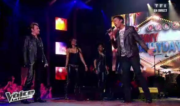 Stéphan Rizon chante avec Johnny Hallyday