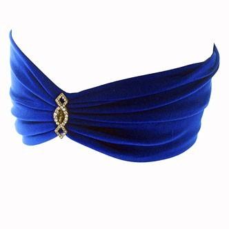 Accessoires cheveux été 2011 : le turban bleu roi avec bijou en strass !