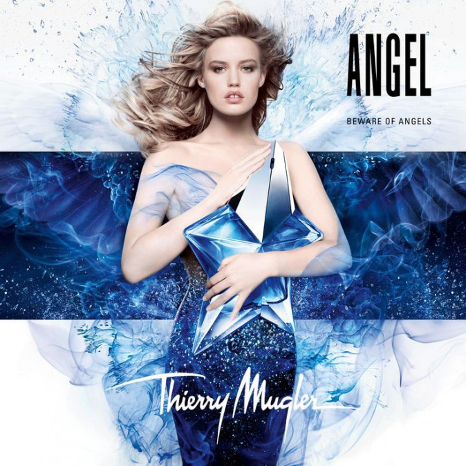 Georgia May Jagger, la flle de Mick, pose en ange rock pour l'iconique Angel de Thierry Mugler.