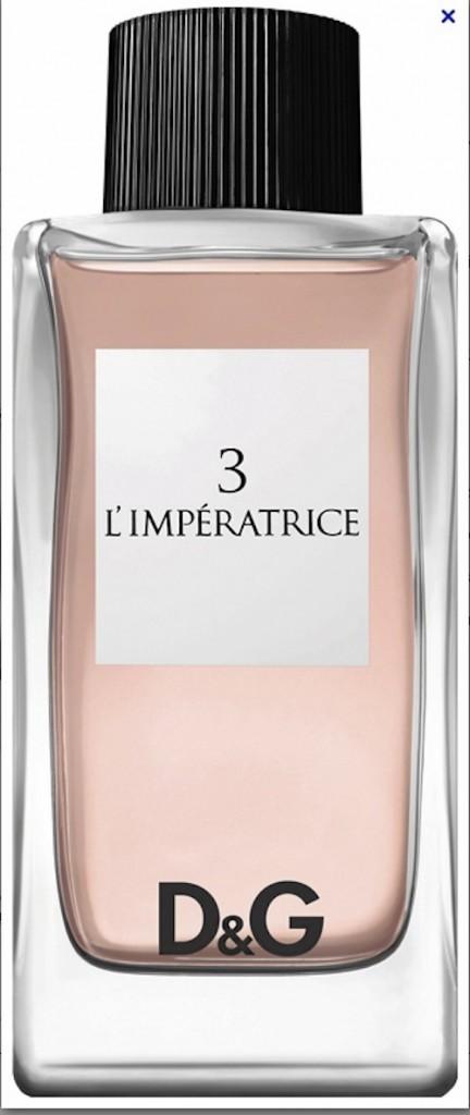 """Eau de toilette, L'Impératrice, D&G 55,99 € les 100 ml """"J'aime avoir un parfum différent pour l'été. Je suis accro à L'Impératrice..."""