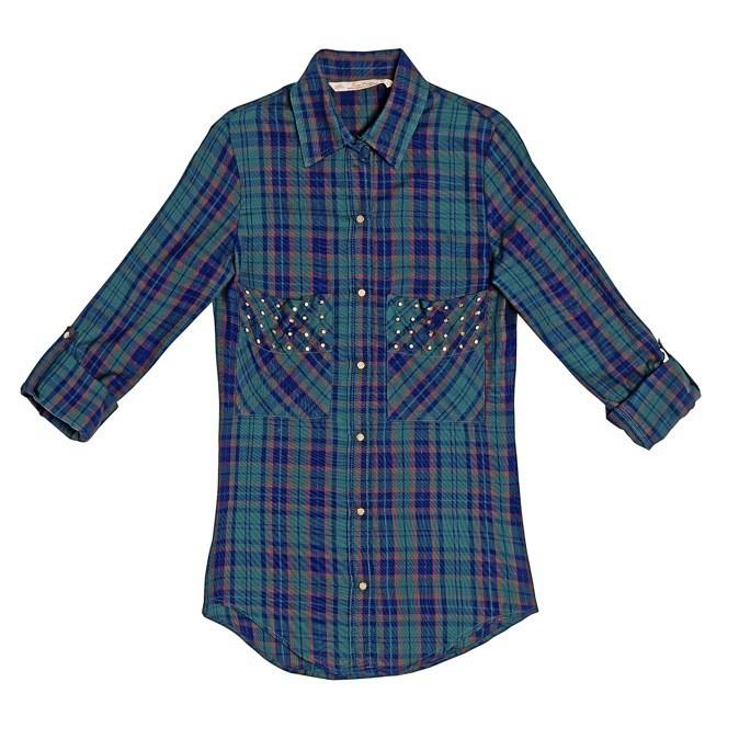 Chemise à carreaux et clous, Zara 49 €