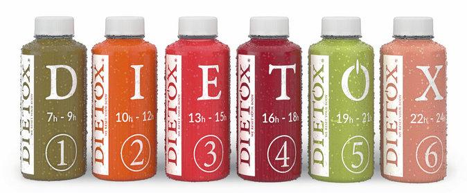 Cure Flashday (6 jus, 6 thés, 1 Happy Elixir et 6 produits beauté), Dietox. 150 €.