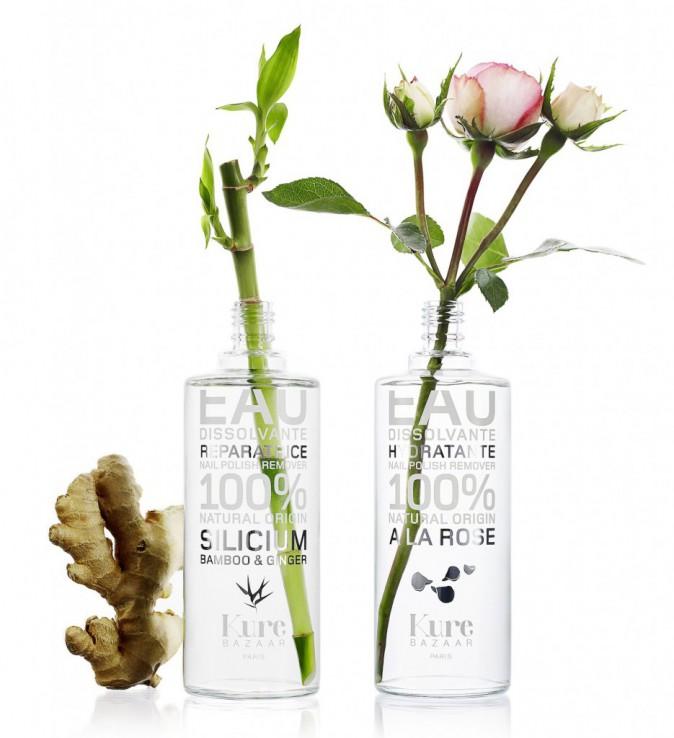 Des vernis éthiques : Eaux dissolvantes, réparatrice au gingembre et bambou, et hydratante à la rose, Kure Bazaar 42 € et 36 €