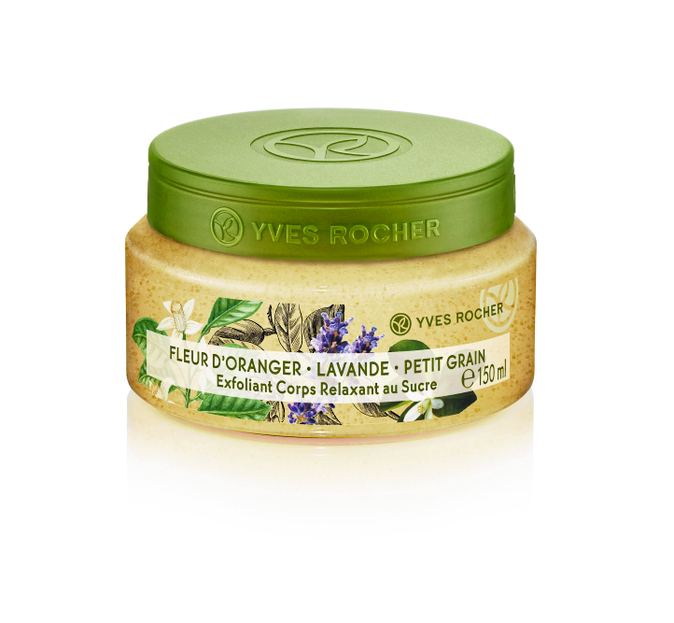 LE SUPER GOMMAGE : Exfoliant Corps Relaxant au Sucre, Yves Rocher. 8,90 €.
