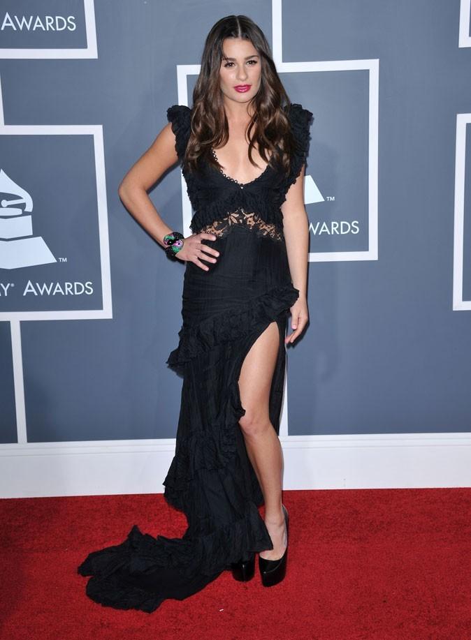 Les stars de Glee en mode glamour : la robe longue noire sexy de Lea Michele