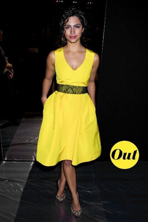 Camila Alves, on dit oui au color block mais non à la robe jaune poussin !