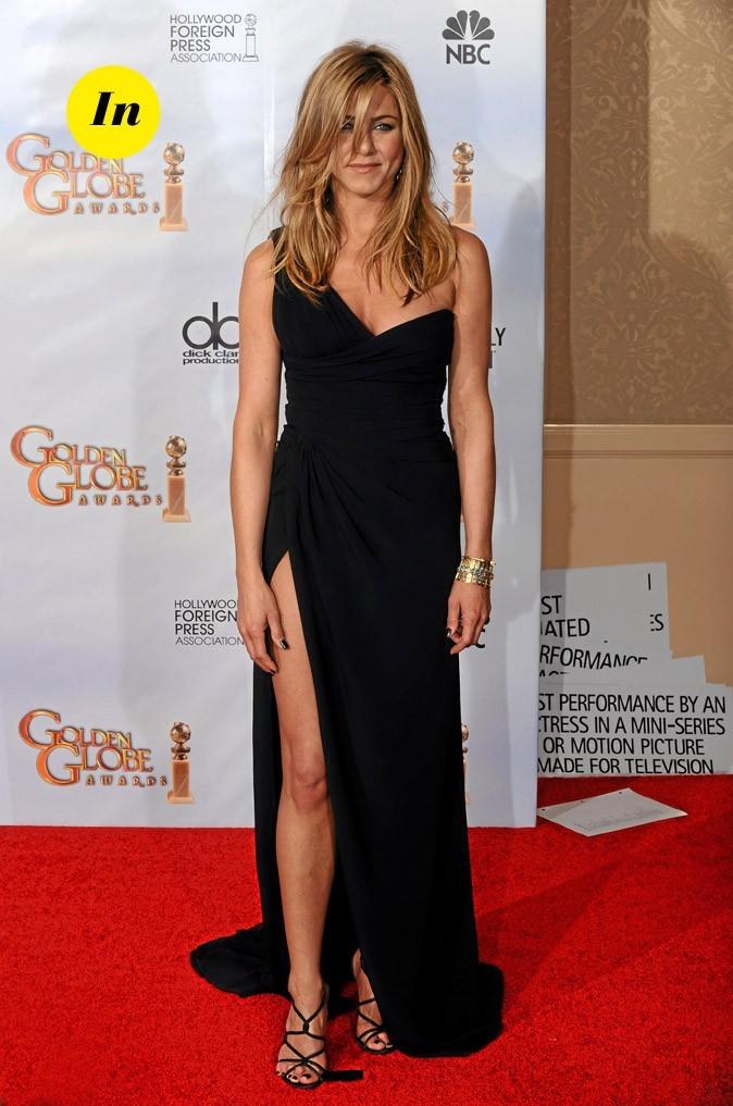 La robe longue asymétrique fendue de Jennifer Aniston en Janvier 2010 !