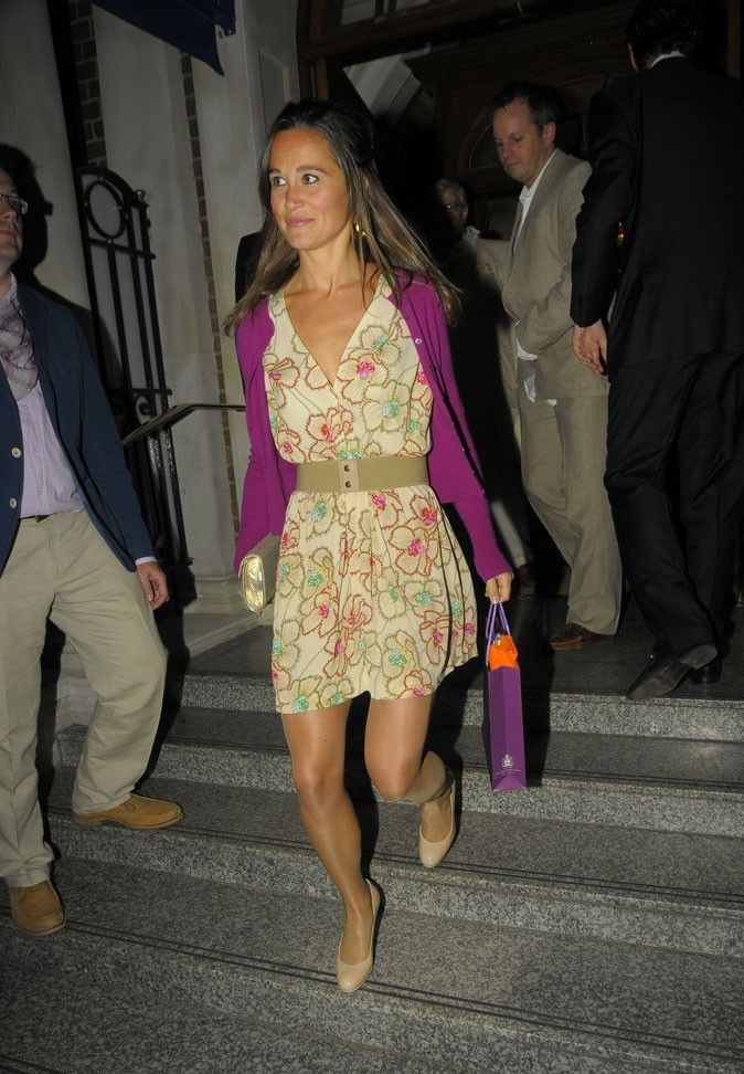 Le gilet violet de Pippa Middleton en juin 2011