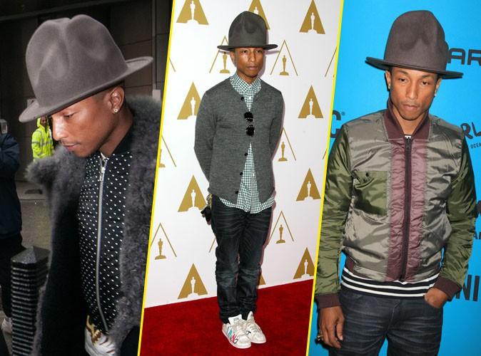Looks de stars : chapeau melon et shorts en cuir pour le CV fashion de Pharrell Williams ?