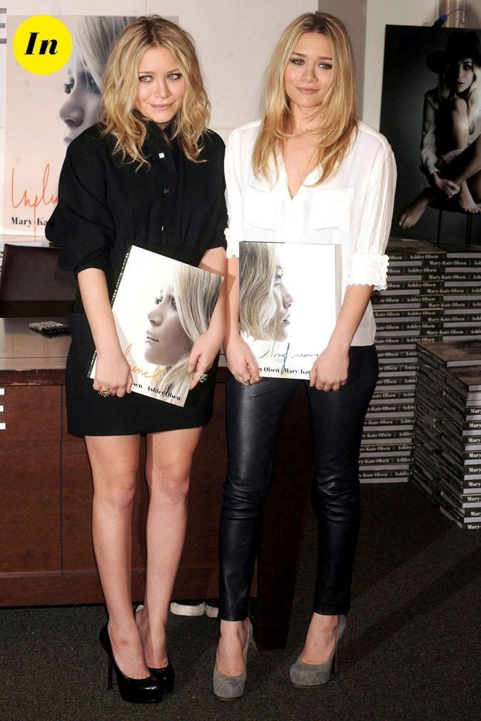 Les looks graphiques black & white des soeurs Olsen en Octobre 2010 !