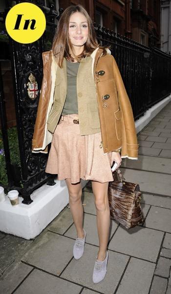 Olivia Palermo à la sortie du défilé Mulberry