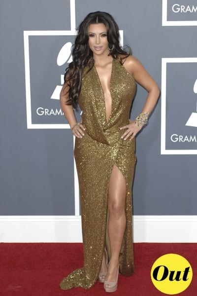 Photos : Grammy Awards 2011 : la robe Kaufman Franco de Kim Kardashian