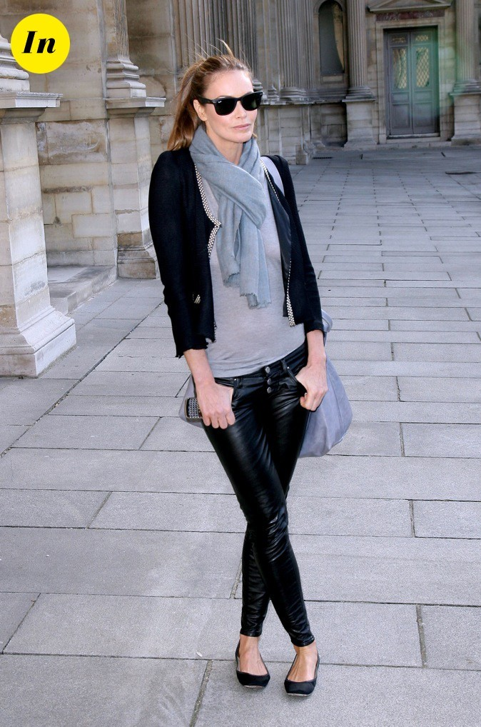 Pantalon en cuir et veste en tweed: so tendance !