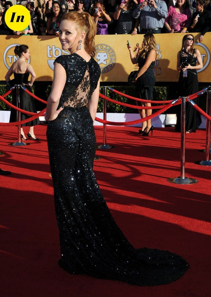 Jayma Mays dans sa robe Reem Acra