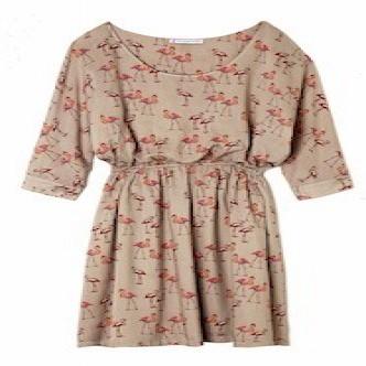 robe imprim flamants roses en viscose paul joe avec. Black Bedroom Furniture Sets. Home Design Ideas