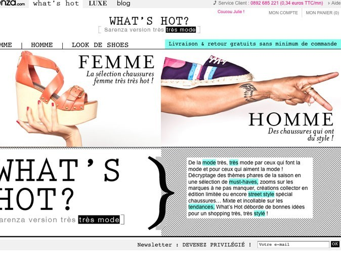 What's Hot : la nouvelle rubrique du site sarenza.com !
