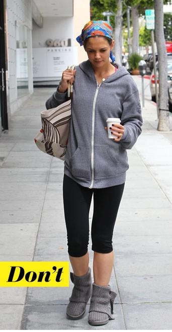 Katie Holmes en Ugg, modèle tricoté