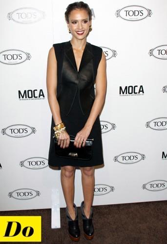 Jessica Alba et sa robe en cuir
