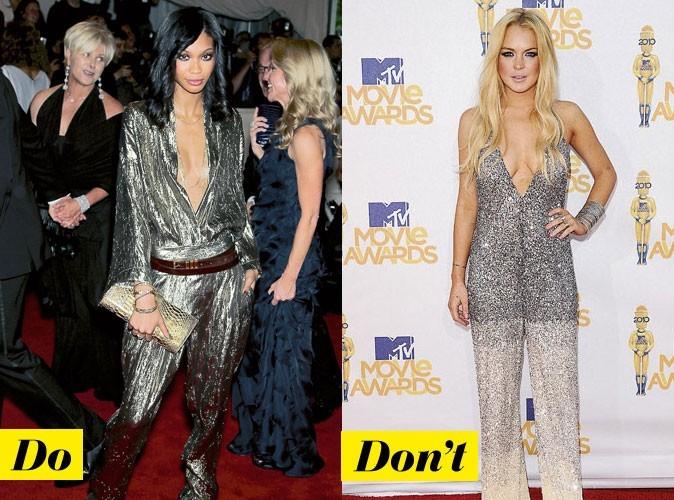 La combinaison dorée de Chanel Iman et Lindsay Lohan