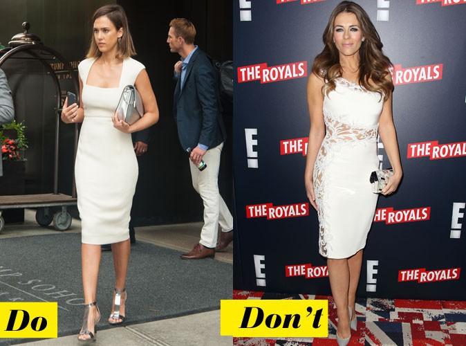 La robe blanche moulante - Do : Jessica Alba / Don't : Elizabet Hurley