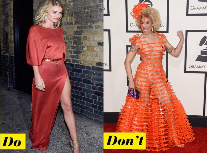 La robe de soirée orange - Do : Rosie Huntington-Whiteley / Don't : Joy Villa