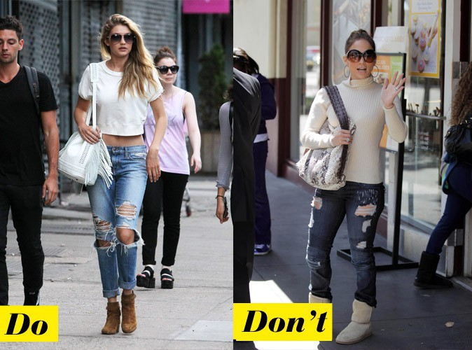 Le jean destroyed - Do : Gigi Hadid / Don't : Jennifer Lopez