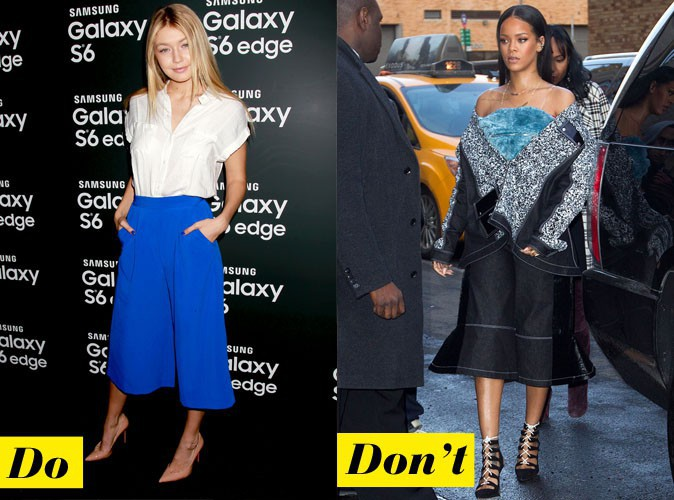 Le pantacourt large - Do : Gigi Hadid / Don't : Rihanna