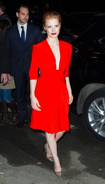 Jessica Chastain chez Yves Saint Laurent - Fashion week automne-hiver 2013/14