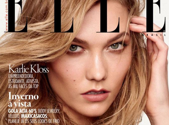 Karlie Kloss : regard perçant et chevelure dorée en couverture du magazine Elle Brésil