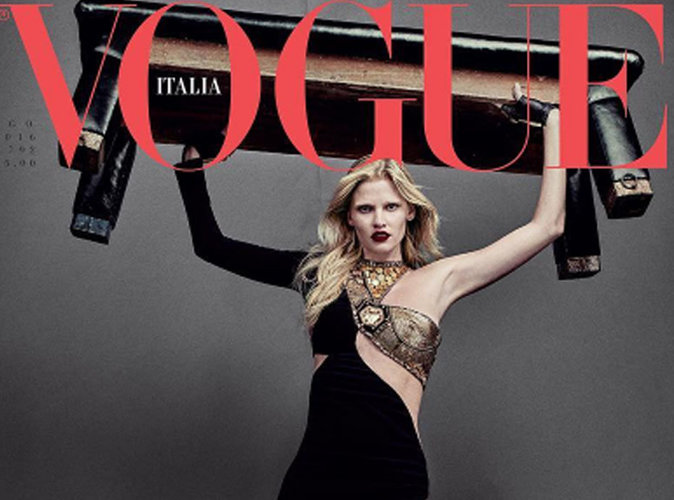 Lara Stone : divine déesse en couverture du magazine Vogue Italie