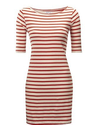 Robe moulante à rayures blanches et rouges : 20£ !