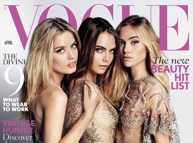Mode : Cara Delevingne, Suki Waterhouse et Georgia May Jagger : nues et collées-serrées pour Vogue !