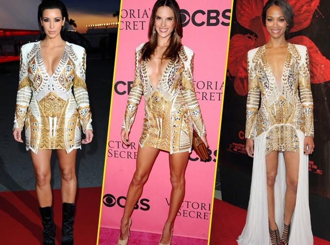 Mode : Kim Kardashian VS Alessandra Ambrosio VS Zoe Saldana : qui porte le mieux la robe Balmain ?