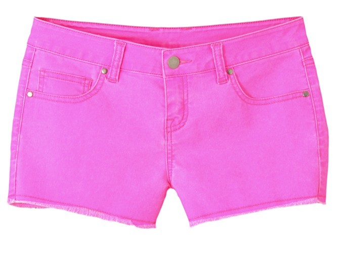 Short en denim rose fluo, Kiabo, 19,99 €