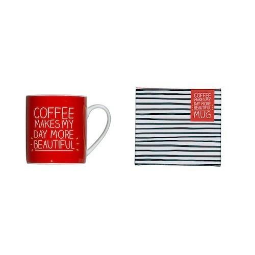 Mug en porcelaine rouge, Happy Jackson, decoclico.fr 9,90€