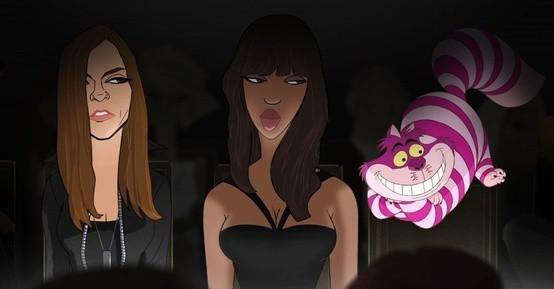 Carine Roitfeld, Naomi Campbell et le chat du Cheshire d'Alice au pays des merveilles