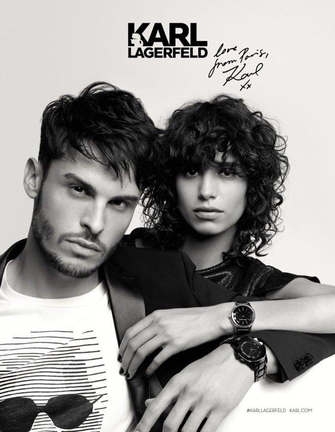 Mica Arganaraz et Baptiste Giabiconi pour Karl Lagerfeld