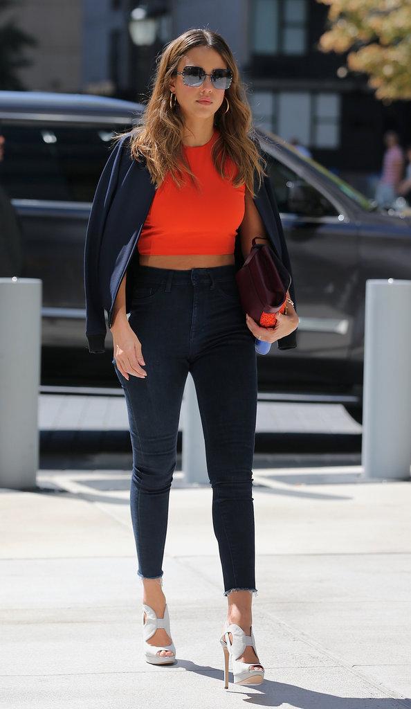 Jessica Alba à New York pour la Fashion Week ce mercredi 14 septembre 2016