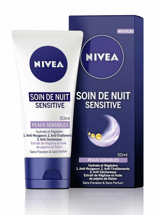 1. J'hydrate la nuit : Soin de nuit, Sensitive, Nivea, 5,80 €