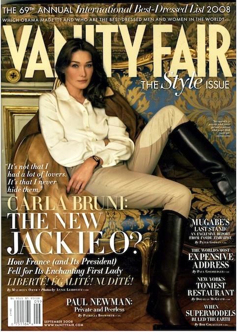 Carla Bruni en couverture de Vanity Fair