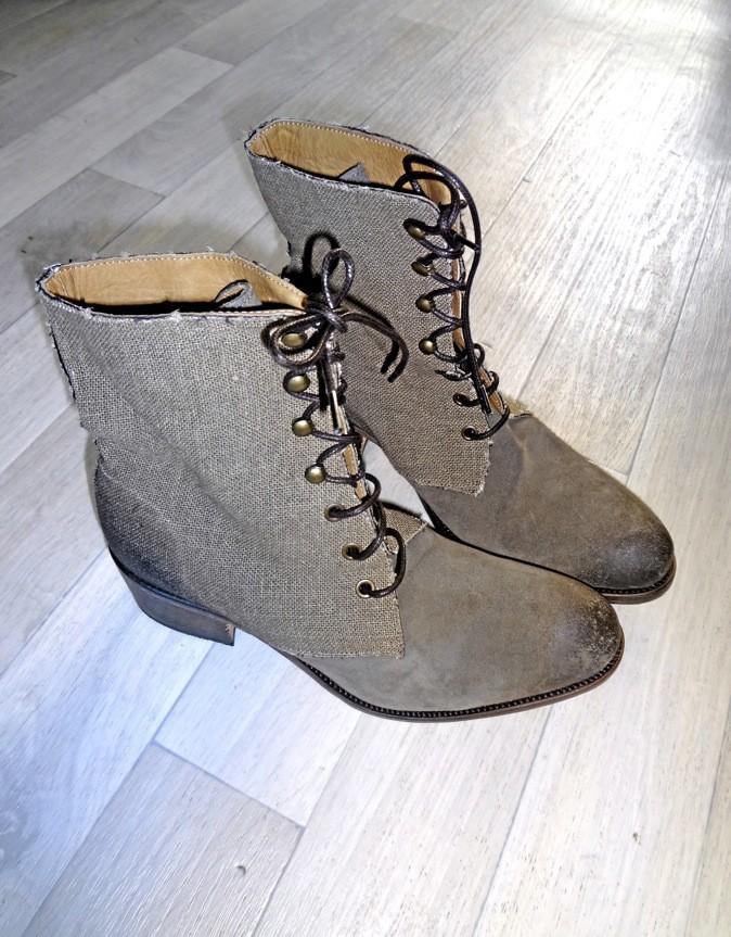 Boots en cuir & tissus, Atelier Voisin, 260€