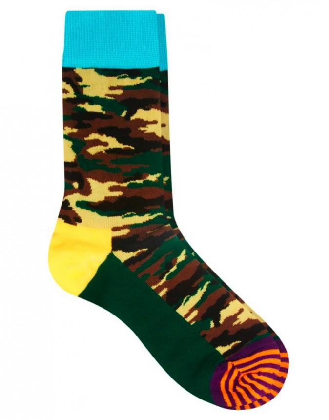 Chaussettes imprimé militaire, Happy Socks, 10€