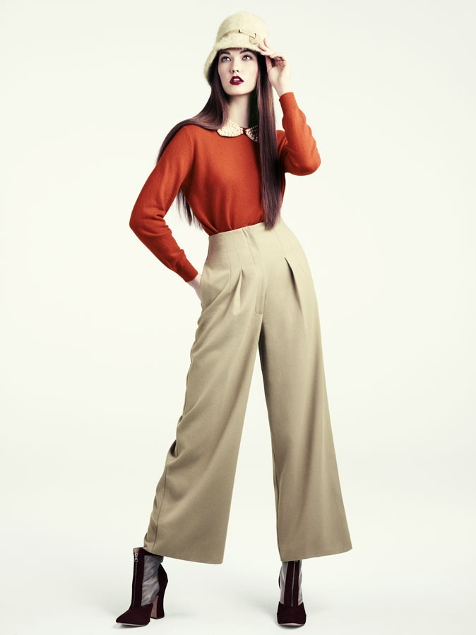 Collection hiver 2012 H&M : orange et pantalon large : la version 2011 des 70's !