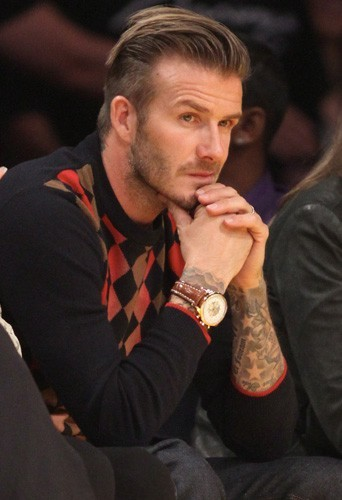 David portant la montre Breitling durant le match de Football